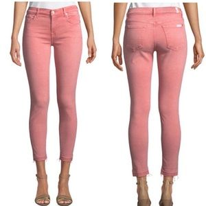 Seven7 High Rise Ankle Crop Skinny Coral Jeans (8)